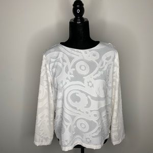 Loft Textured Pattern Long Sleeve White Blouse